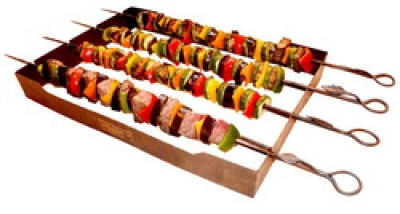Set of Four Skewers and Rack